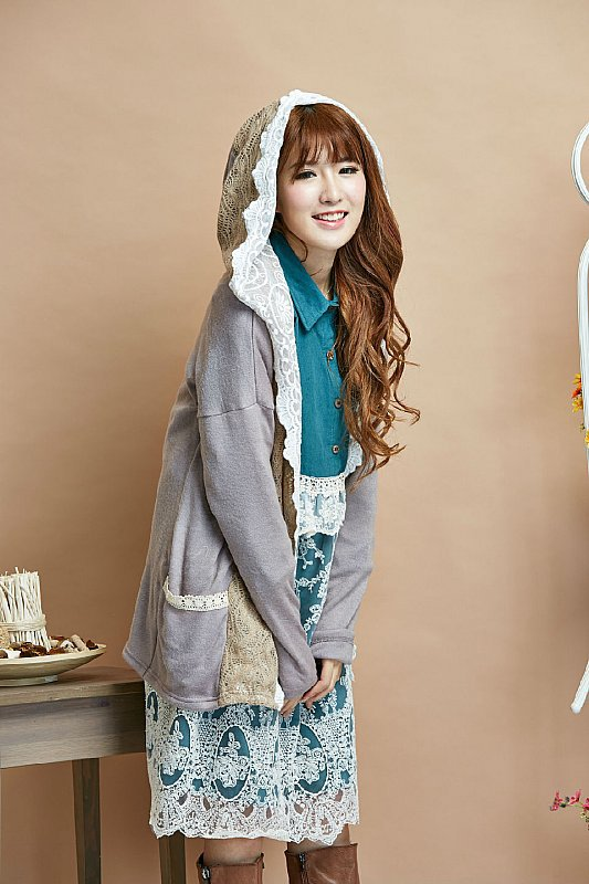 manteaux femme chaquetones de mujer poncho cloak coat woman winter gray lace pathwork mori girl lolita