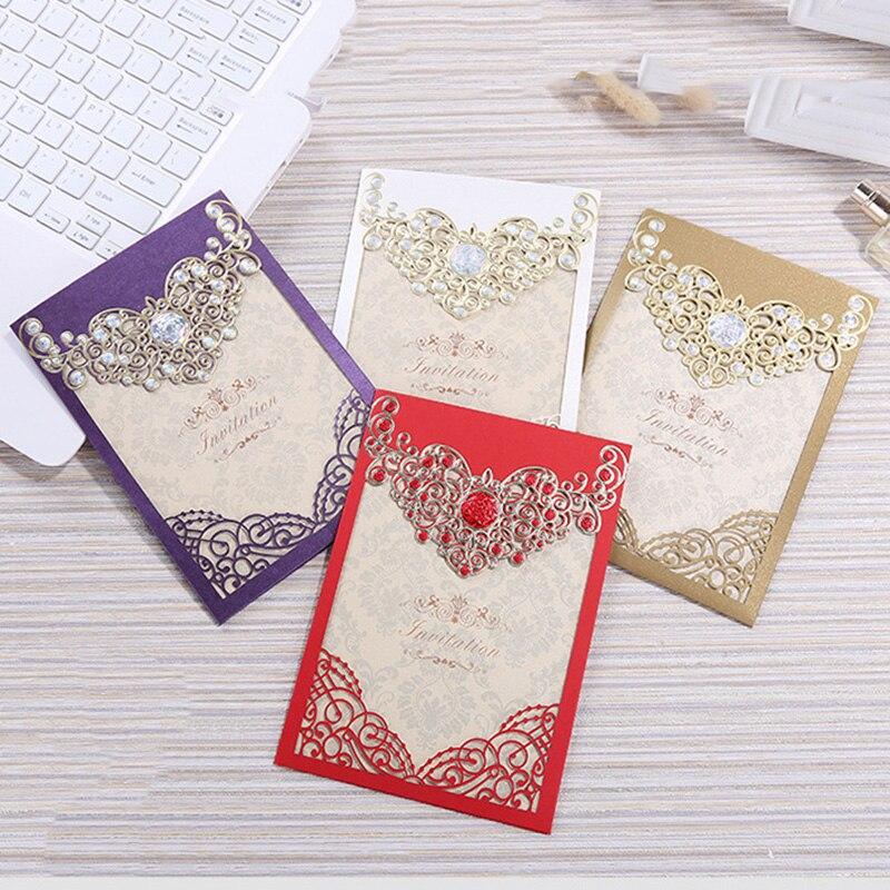 100 pcs 레드 골드 화이트 레이저 컷 크라운 결혼식 초대장 카드 인사말 카드 사용자 정의 봉투 결혼식 이벤트 파티 장식-에서카드 & 초대장부터 홈 & 가든 의  그룹 1