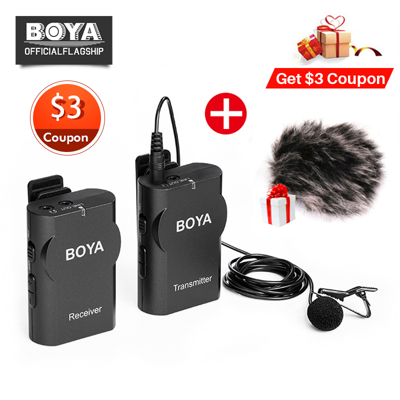 Boya BY WM4 Professional Wireless Microphone System Lavalier Lapel Mic for Canon Nikon Sony DSLR Camcorder Recorder for iPhone X