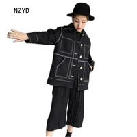 Euro Style Spring Autumn New Fashion Women Coat Lapel Collar Medium Long Jean Coat Long Sleeve