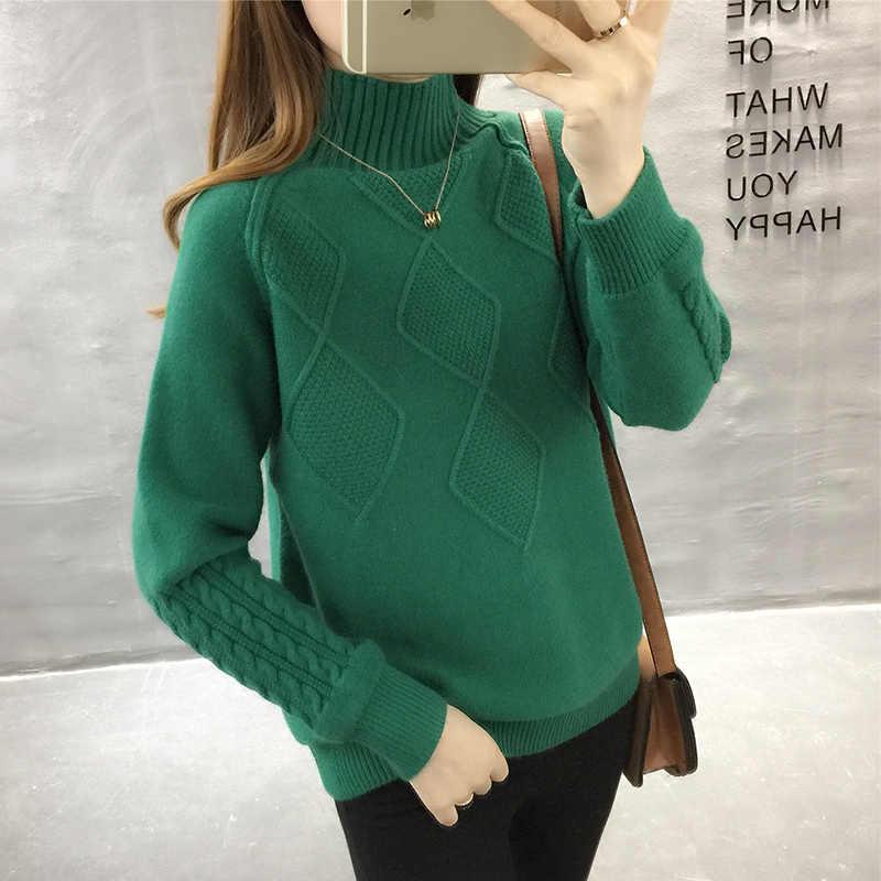 Осенний свитер с высоким воротом, Зимние Теплые Топы, женские вязаные свитера с длинным рукавом, однотонные женские повседневные свободные пуловеры и свитера