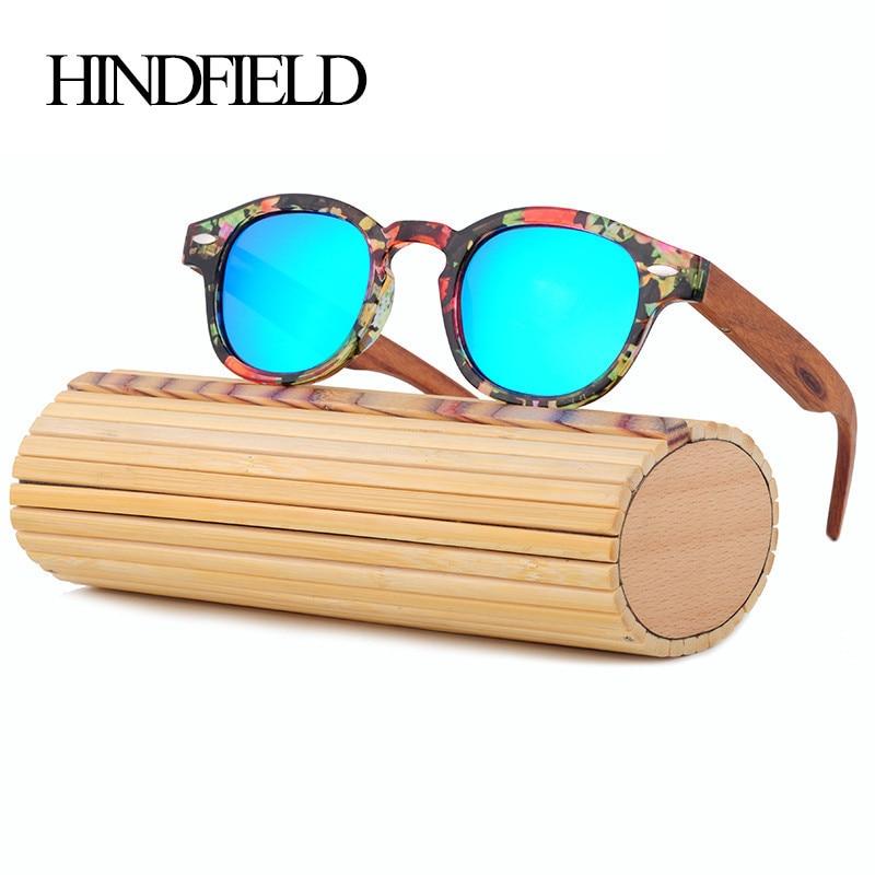 HINDFIELD Wood Sunglasses Women Handmade Round Bamboo Sun Glasses For Men Polarized Mirror Coating Lenses Eyewear gafas de sol