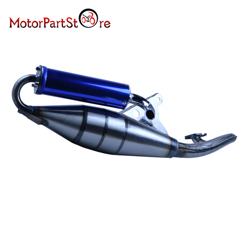 Motorcycle Stainless Steel Performance Pipe Racing Exhaust Muffler Pipe For Jog 50Cc Scooter Moped  Blue Freight Is Adjustable