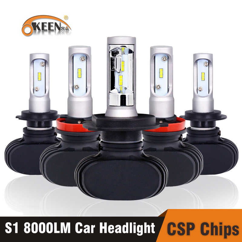OKEEN 2pcs Car S1 Super LED Headlight Lamp H7 H4 H11 H3 HB3 9005 H8 Led 9006 with CSP Chip Bulb 50W 8000lm 6000K LED Bulbs Auto