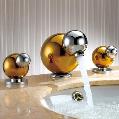wholesale promotion premium luxurious gold three holes basin mixer tap 8 inch widespread golden bathroom faucet