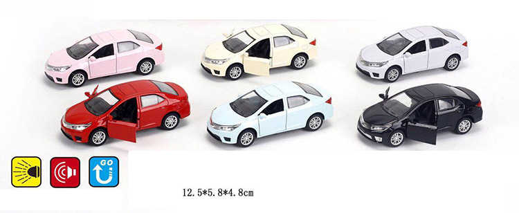 Hot 1:36 scale wheels diecast cars toyotas Corollas metal model pull back alloy toys collection with light and sound for kids