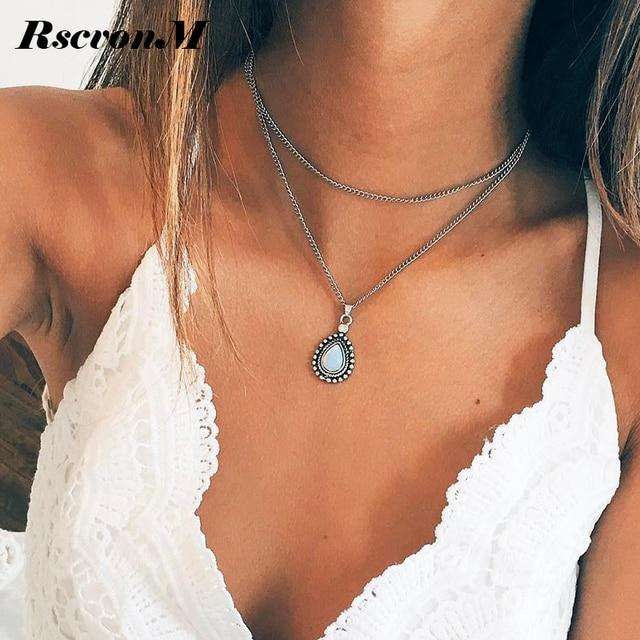 RscvonM Новая мода двойным рогом Цепочки и ожерелья Полумесяца капли воды Цепочки и ожерелья Boho ювелирные изделия минимальным подруга подарок доставка C135