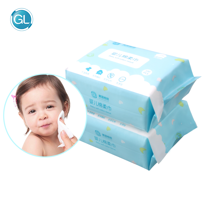 GL 600Pcs Baby Dry/Wet Wipes Wider Cotton Wet Tissue Portable Travel Deep Purification Toddler Moist Tissue Outdoor Skin Care