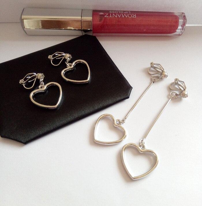 Серьги клипсы в виде сердца для женщин, не требующие пирсинга, без отверстия для ушей|clip on earrings|clip onearring clip on | АлиЭкспресс