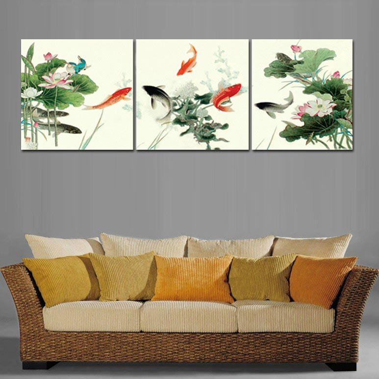 Framed 3 tableau peinture large chinese oil paintings koi for Koi wall hanging