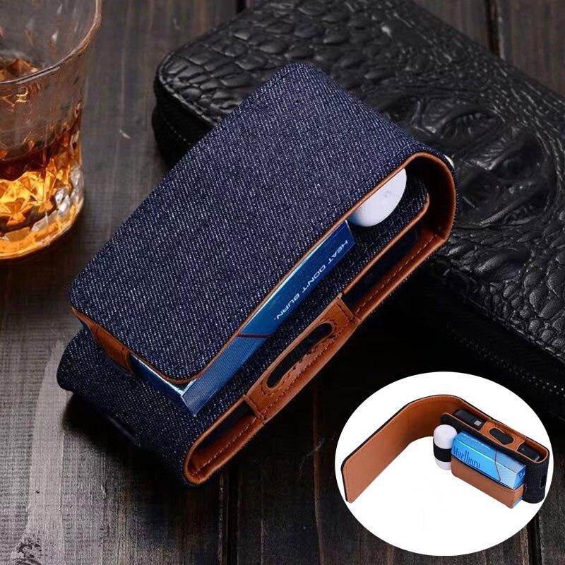 bilder für Denim Leder Telefon Tasche Gürtelclip-beutel Taille Geldbörse Fall Abdeckung für Handy für IQOS Elektronische Zigaretten Tragetasche
