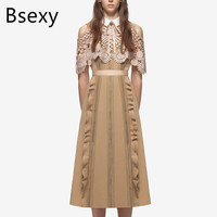 2017 Runway Women Fashion Cutout Lace Empire Long A Line Dress Self Portrait Peter Pan Collar