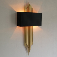 Postmodern gold tube Led Wall Sconce for Villa Hotel Long pipe Wall Lamp parlor Foyer vertical gold Wall Light cloth Lampshade|Wall Lamps| |  -