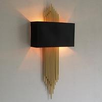 Postmodern gold tube Led Wall Sconce for Villa Hotel Bar Long pipe Wall Lamp parlor Foyer vertical gold Wall Light Lampshade