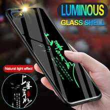 Tempered Glass Chinese Text Luminous Cases For Huawei Y5 2018 Luxury Shine Case Cover For Huawei Y5 Prime 2018