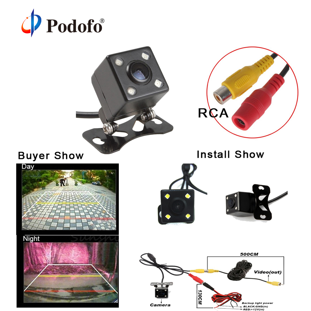 Podofo New! 4 LED Night Vision Car Rear View Camera Universal Backup Parking Camera Waterproof 170 Wide Angle HD Color Image
