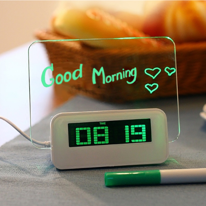 Digital Alarm Clock LED Despertador Fluorescent With Message Board Multifunction Luminous Table Clock Gift Can Write And Draw