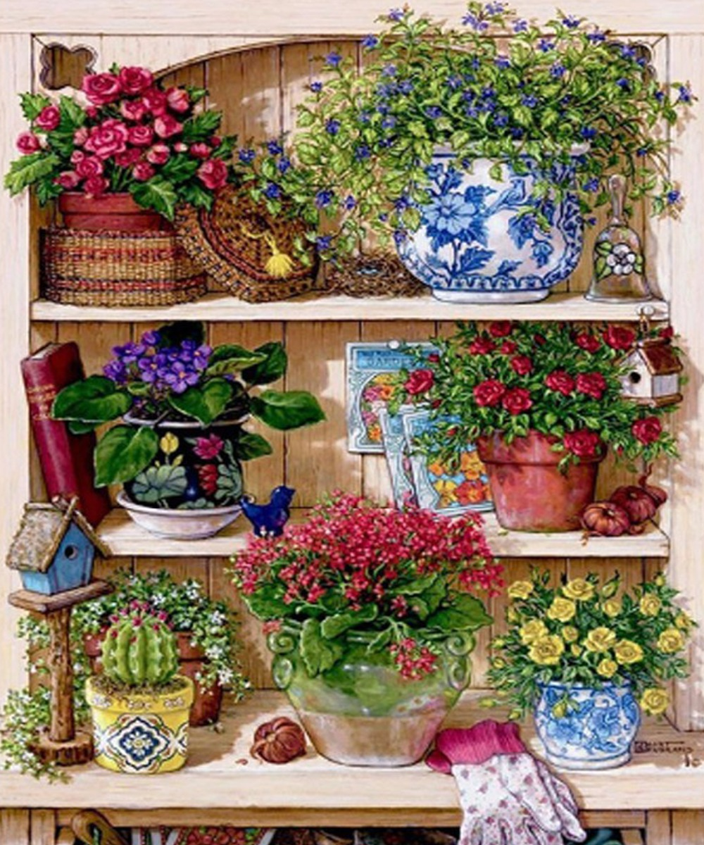 Mosaico De Diamante Cheio De Arranjo De Flores Em Vasos De Plantas