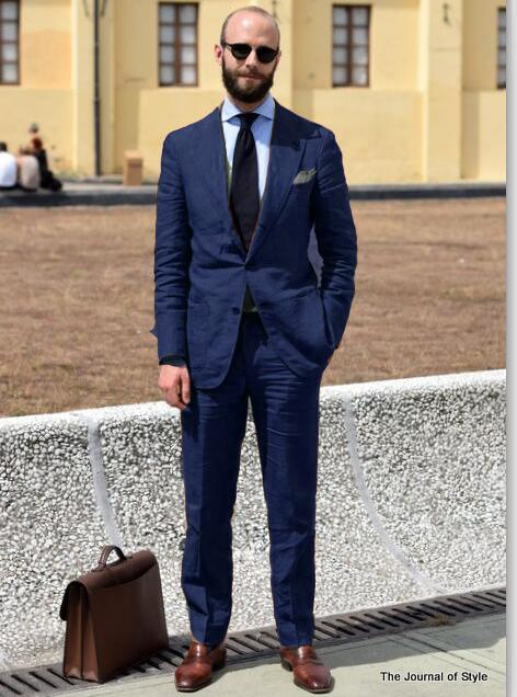 2018 Tailored Made Navy Blue Green Linen Men Suit Slim Fit 2 Piece Groom Tuxedo Blazer Wedding Suits Terno Masculino Jacket+Pant