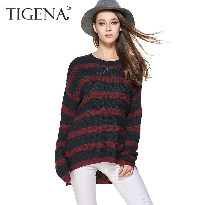 TIGENA 2018 Autumn Wnter Plus Size 3XL Striped Knitted Sweater Women Sweaters And Pullovers Female Jumper Pull Femme Tricot ...