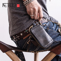 AETOO Head cowhide Car Key bag men's leather key buckle, with card position can be put on the driver's license