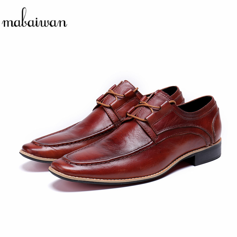 Mabaiwan Red Fashion Genuine Leather Dress Causal Men Shoes Lace Up Italy Retro Male Business Wedding Breathable Formal Flats