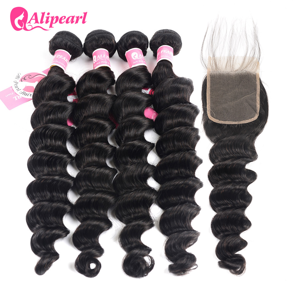Alipearl Hair Loose Deep Wave 4 Bundles With Closure Human Hair Brazilian Hair Weave Bundles With Closure Remy Hair Extension