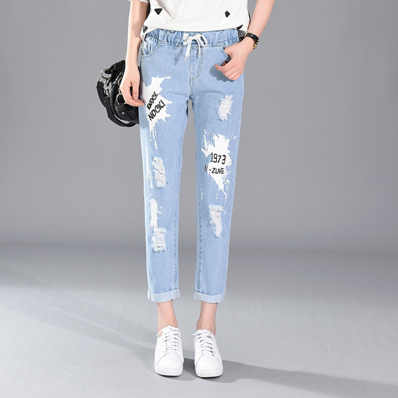 new arrived spring Jeans woman Loose Fashion Casual denim Harem pants Ankle-Length Hole Elastic Waist all match trousers 2017 spring new women sweet floral embroidery pastoralism denim jeans pockets ankle length pants ladies casual trouse top118