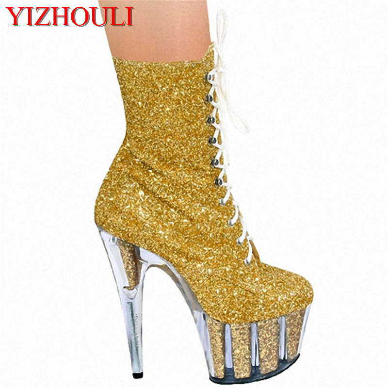 European and American stars performance women's shoes, 15cm ultra high heel boots new spring boots, flash powder low Dance Shoes white model stage performance women s boots autumn winter low tube boots crystal shoes 15cm high heel dance shoes