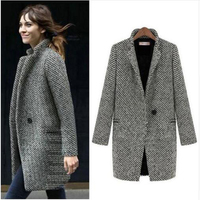 Autumn Winter Wool Jacket Women 2018 Formal Woolen Jackets and Coats Office Lady Plaid Slim Pockets Outerwear Plus Size 7XL