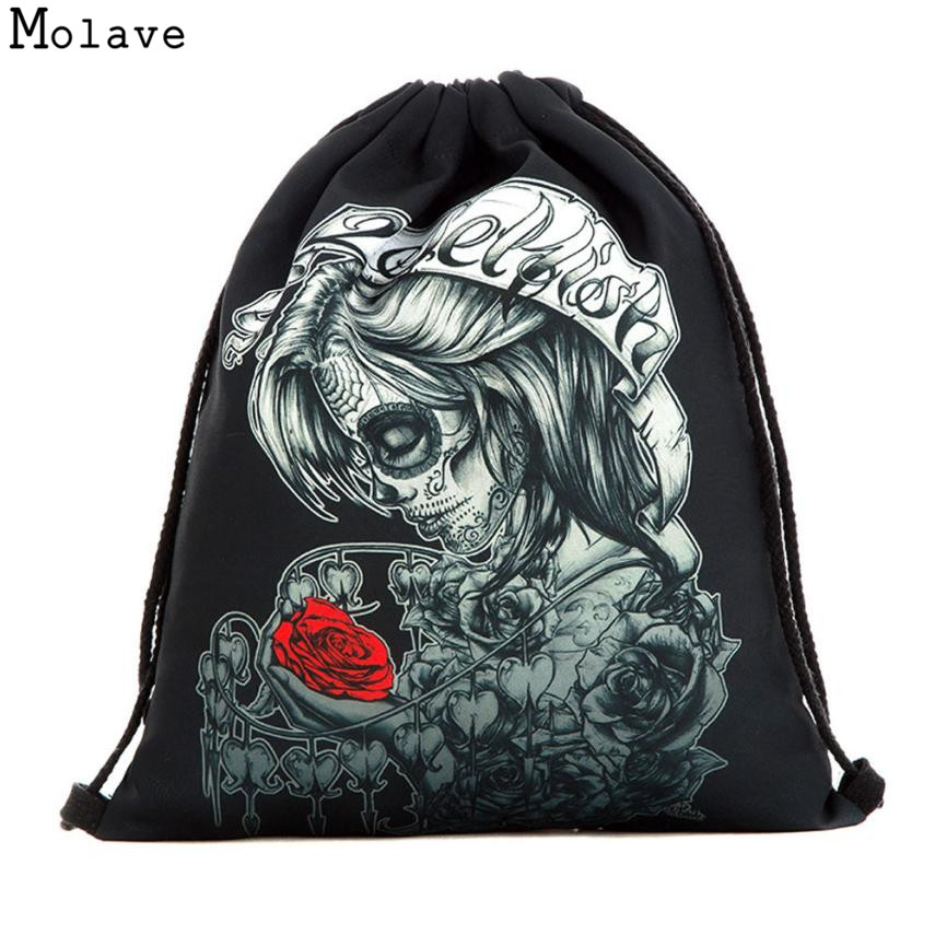 Naivety Drawstring Bag 3D Printing Skull Floral Girl Backpack Pocket  Halloween Gift Bags 28S7904 drop shipping