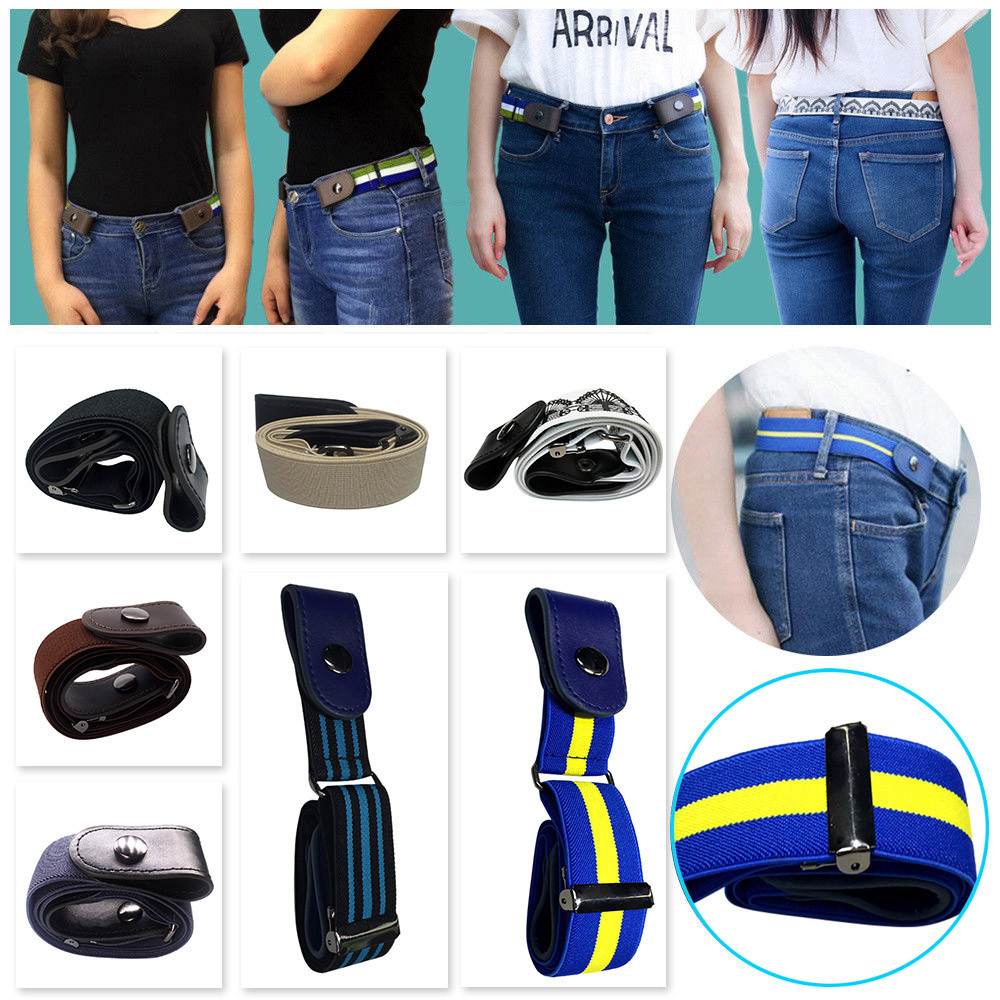 Fashion Women Men Unisex Slim Stretch Invisible Belt Men Women Jeans Wild No Bulge Hassle Belt Buckle-free Elastic Lazy Belt