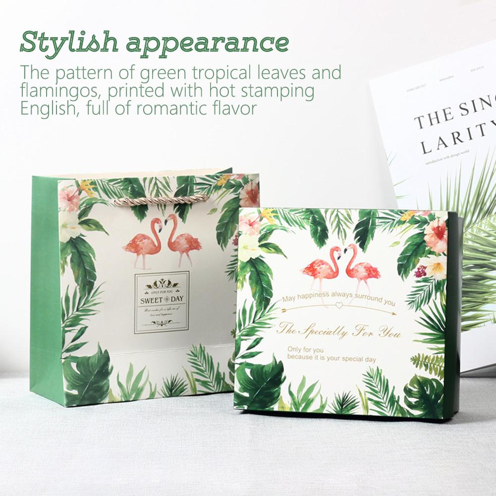 Wedding Bridesmaid Wedding Candy Champagne  Gift Box Flamingo With Hand Gift Box Forest Green Leaf Proposal Holder Box