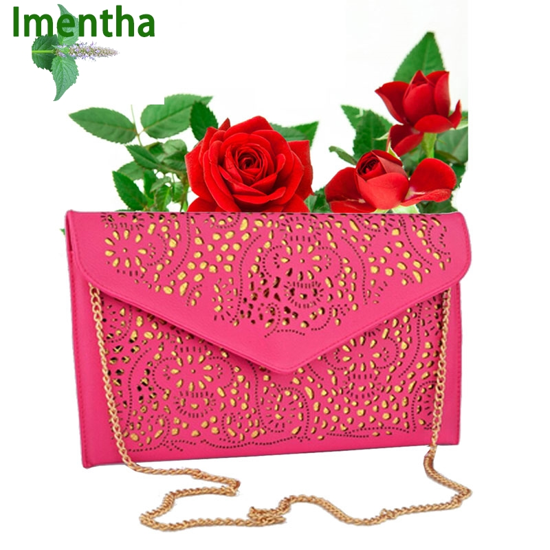 Factory sale fashion women shoulder bags chain bag envelope clutch purse hollow out cutout summer bag for girls lady hand bag