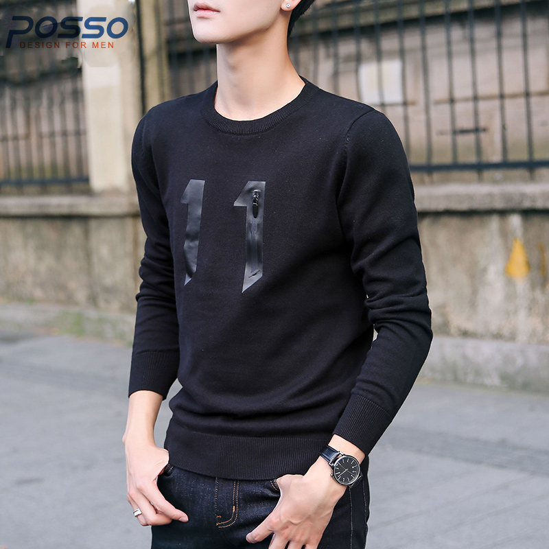 Mens pullover sweater men fashion sweater print sweater navy blue number 11 thin sweater for fall/autumn