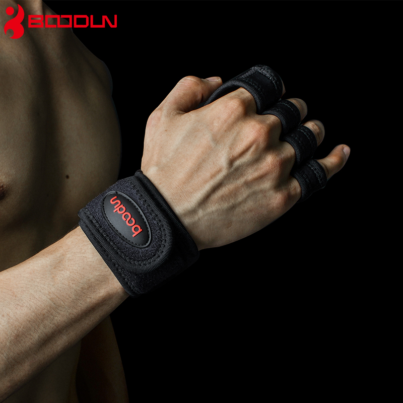 Купить с кэшбэком Boodun Weight Lifting Training Gloves Women Men Fitness Sports Body Building Gymnastics Grips Gym Hand Palm Protector Gloves