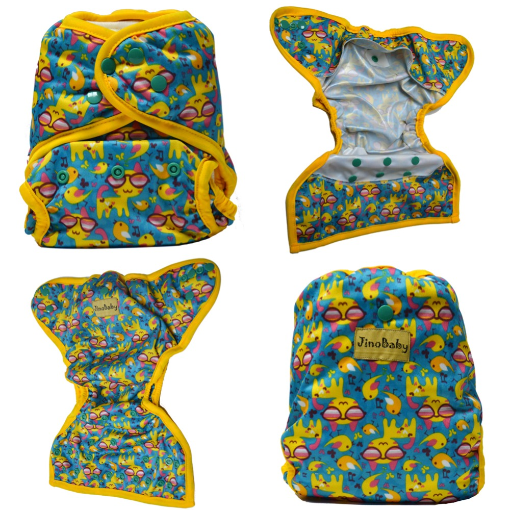 JinoBaby Cloth Nappies Double Gusset Diaper Covers Reusable Baby Diapers Couche Lavable Waterproof Diaper Cover (Without Insert)