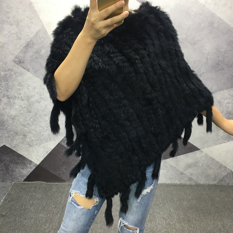women genuine fur shawls and capes spring autumn Real Knitted Rabbit Fur Poncho   Wrap     scarves   triangle Cape with tassels female