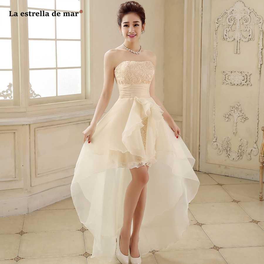 Detail Feedback Questions about Robe demoiselle d honneur hot new lace  Strapless purple champagne red high low bridesmaids dresses cheap vestidos  de ... 44c6144707b9