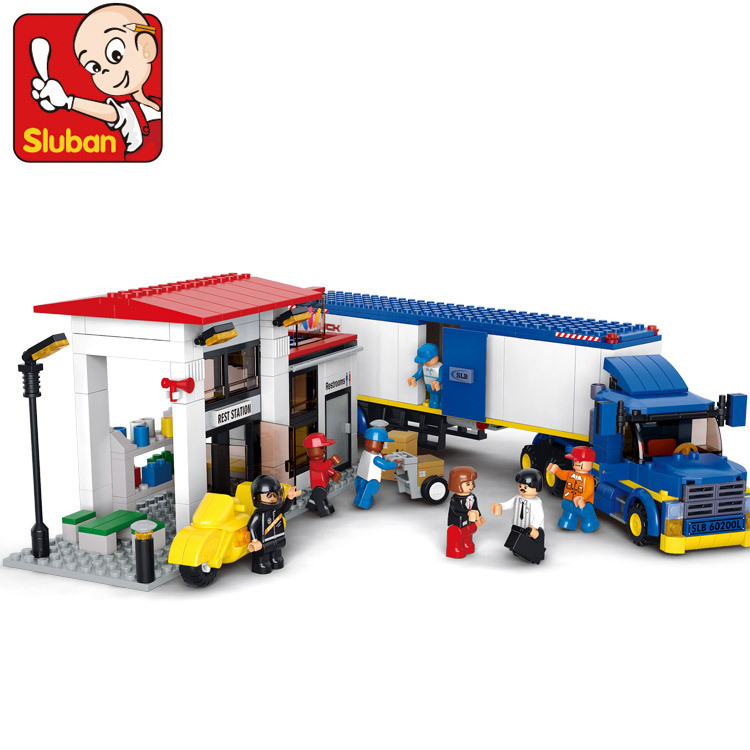 Sluban model building kits compatible with lego city truck 708 3D blocks Educational model & building toys hobbies for children