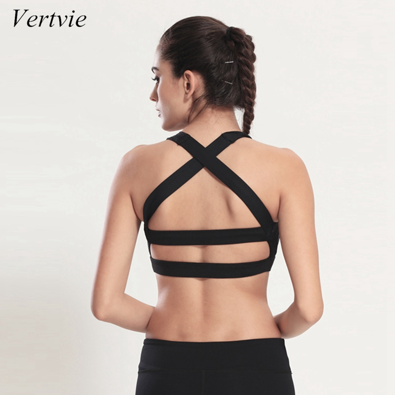 vertvie Solid Cross Strap Black Yoga Bra Women Padded Push Up Sports Bra Quick Dry Fitted Gym Workout Fitness Crop Top Bras