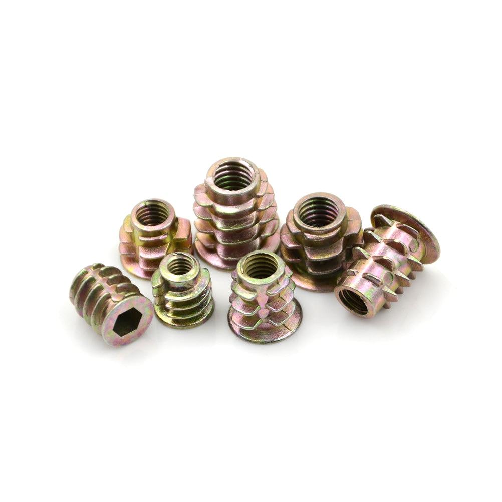 Tornillos M4*8 tuerca de cabeza hexagonal de muebles de aleaci/ón de zinc M4 de 50 piezas roscada para inserto de madera