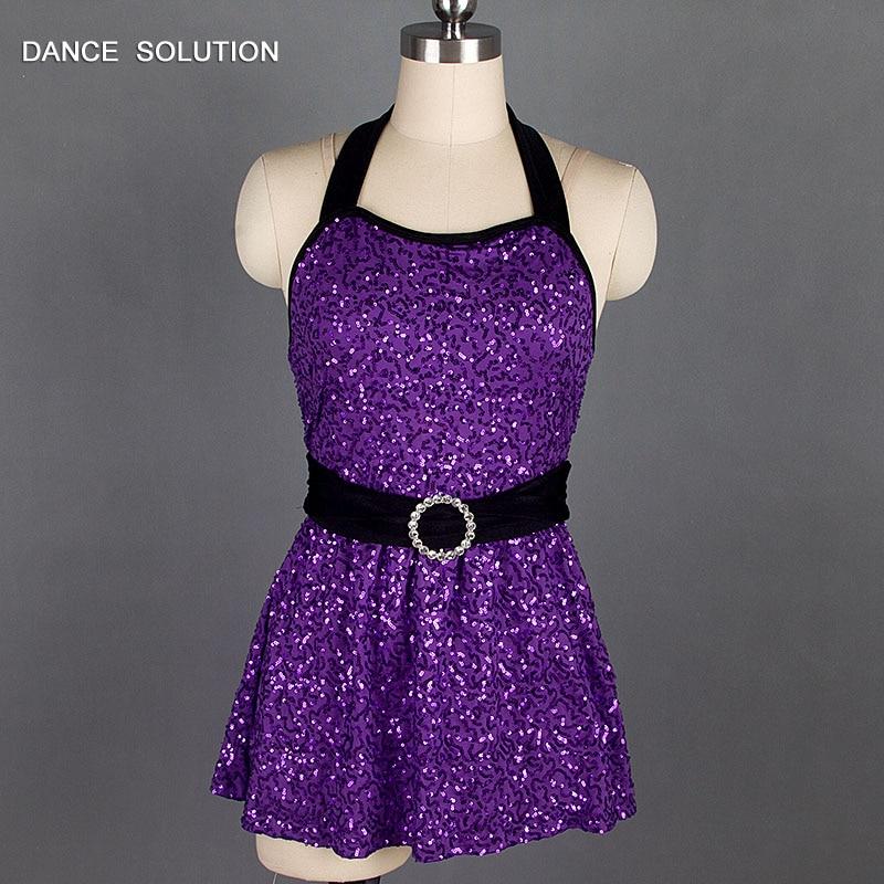 Fashion Purple Sequin Girls Dress Child & Adult Dance Wear Jazz Hip Hop Street Dance Stage Costume 16037