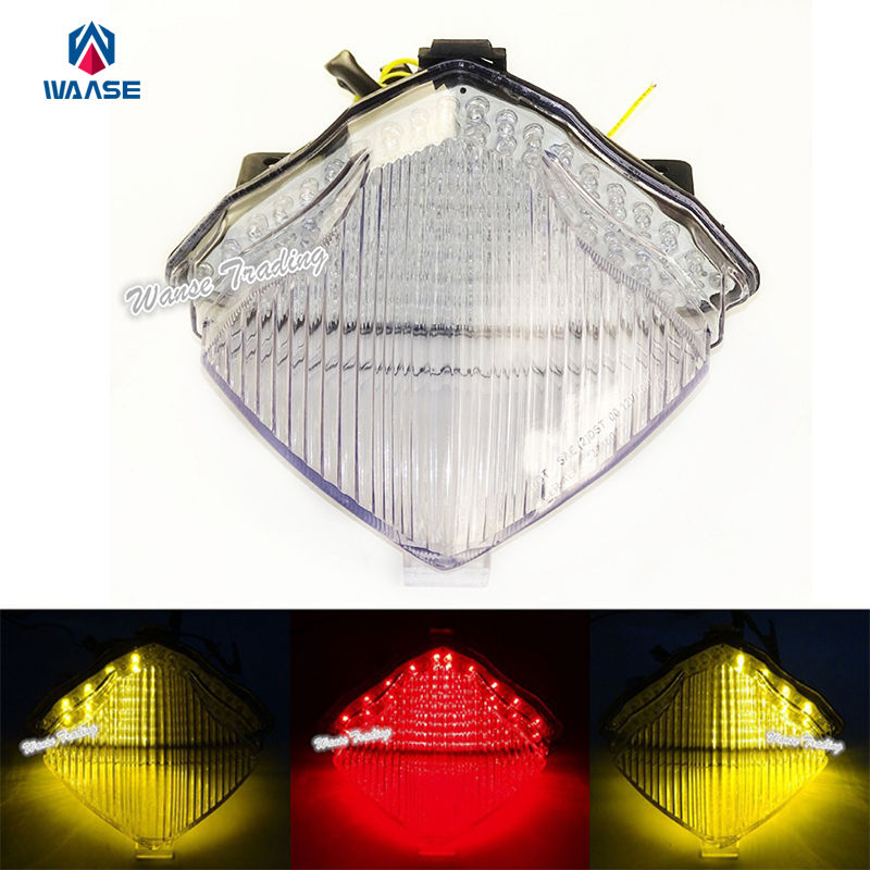 Waase E-Marked Rear Taillight Tail Brake Turn Signals Indicator Integrated Led Light Clear For 2004 2005 2006 YAMAHA YZF R1 RN12