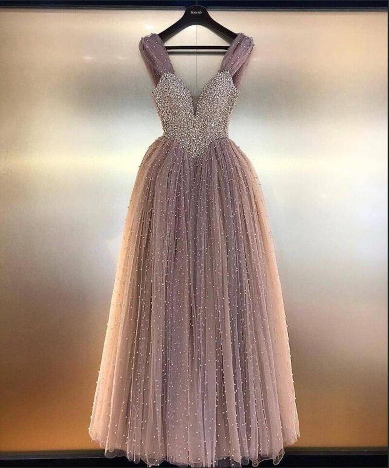 Longues robes de soirée 2019 réel échantillon v-cou superbes cristaux Cap manches longueur de plancher femmes formelles robes de soirée robe de soirée