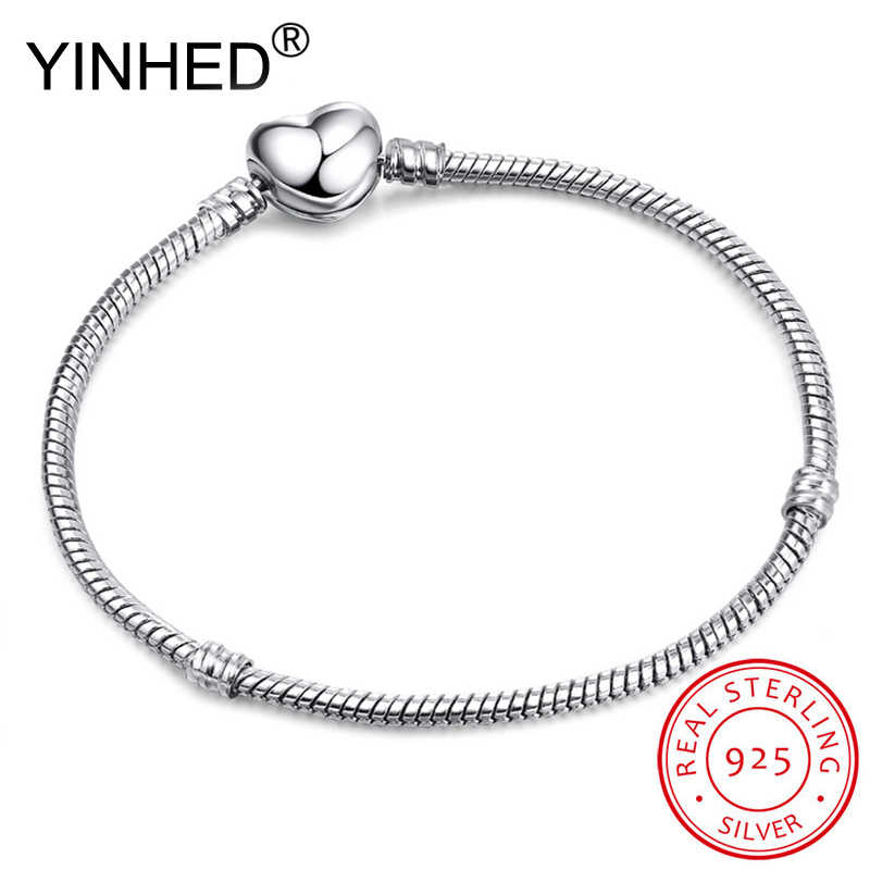 Lose Money Sale! YINHED Original Handmade DIY Jewelry 925 Sterling Silver Snake Chain Bracelet Heart Clasp Making Gift ZB035