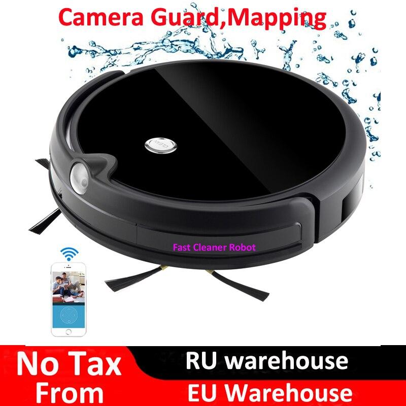 2018 caméra garde vidéo appel carte Navitation sans fil aspirateur Robot avec WiFi App contrôle, mémoire intelligente, grand réservoir d'eau