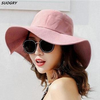 SUOGRY Primavera Verano sombreros de Sol para mujeres gran ala ancha de  algodón cubo sombrero de playa Panamá gorra visera playa Chapeau mujer nuevo 6b963a50ccf0