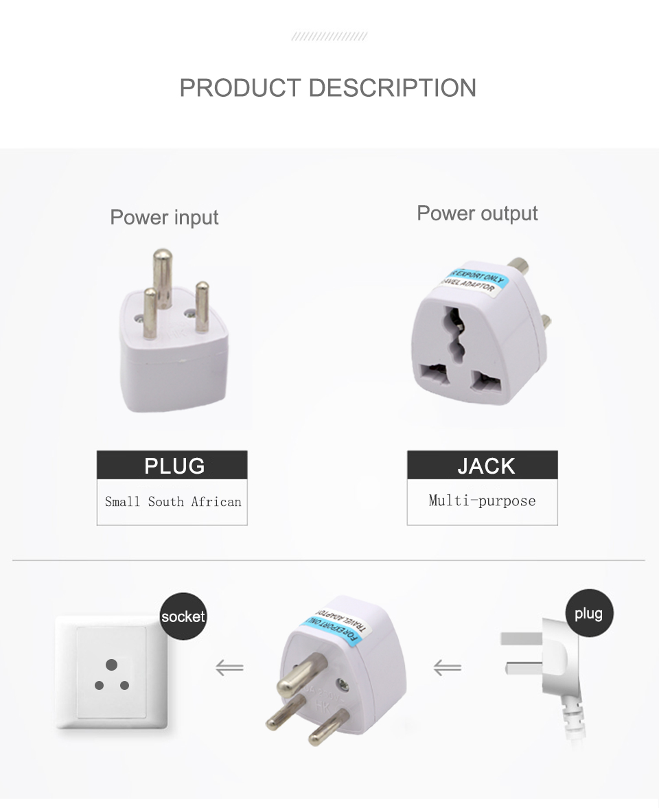 1PC 3 pin India Travel Converter Adaptor AC Power Multi Outlet Adapter Socket Universal UKUSEUAU to Small South Africa Plug (5)