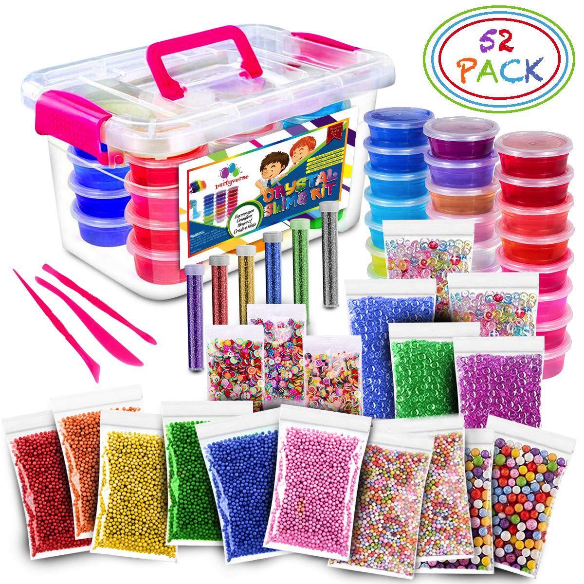 52 pacote/lote fluffy slime kit 24 cores suprimentos presentes para crianças diy kit sensorial jogo de alívio do estresse brinquedo elástico macio para crianças